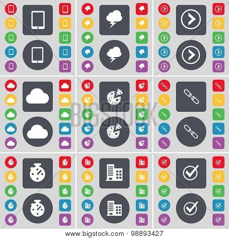 Tablet Pc, Lightning, Arrow Right, Cloud, Pizza, Link, Stopwatch, Building, Tick Icon Symbol. A Larg