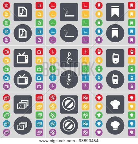 Music File, Cigarette, Marker, Retro Tv, Clef, Mobile Phone, Gallery, Stop, Cooking Hat Icon Symbol.