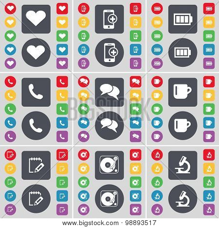 Heart, Smartphone, Battery, Receiver, Chat, Cup, Survey, Gramophone, Microscope Icon Symbol. A Large