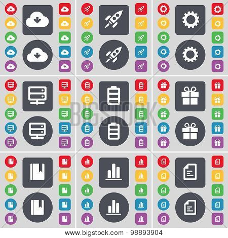 Cloud, Rocket, Gear, Server, Battery, Gift, Dictionary, Diagram, Text File Icon Symbol. A Large Set