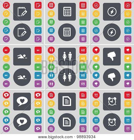 Survey, Calculator, Flash, Swimmer, Silhouette, Dislike, Chat Bubble, Text File, Alarm Clock Icon Sy