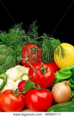 Group Of Different Vegetables On Black Vertically