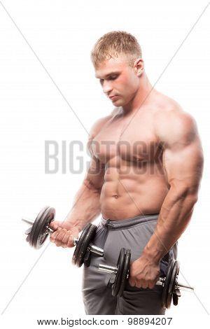 Image of muscle man posing in studio. doing bicep curls