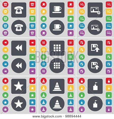 Retro Phone, Cup, Picture, Rewind, Apps, Floppy, Star, Cone, Flag Tower Icon Symbol. A Large Set Of