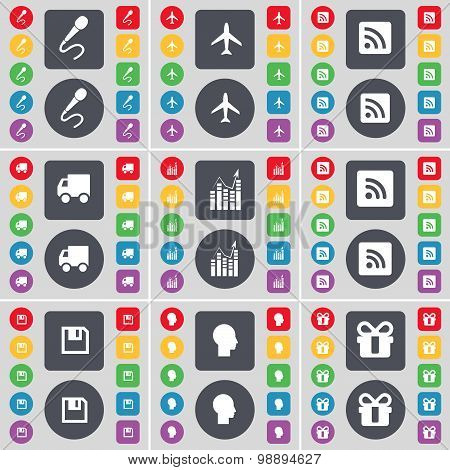 Microphone, Airplane, Rss, Truck, Graph, Rss, Floppy, Silhouette, Gift Icon Symbol. A Large Set Of F