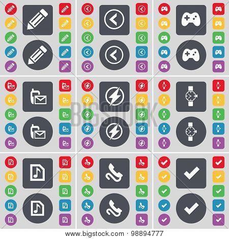 Pencil, Arrow Left, Gamepad, Sms, Flash, Wrist Watch, Music File, Receiver, Tick Icon Symbol. A Larg