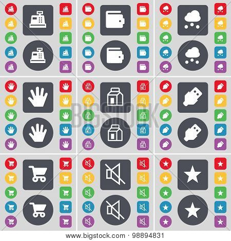 Cash, Wallet, Cloud, Hand, Packing, Usb, Shopping Cart, Mute, Star Icon Symbol. A Large Set Of Flat,