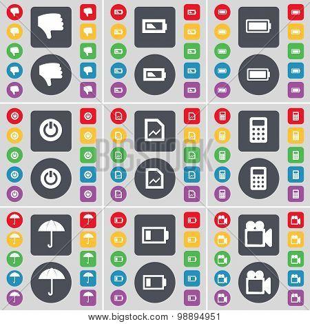 Dislike, Battery, Power, Graph File, Calculator, Umbrella, Battery, Film Camera Icon Symbol. A Large