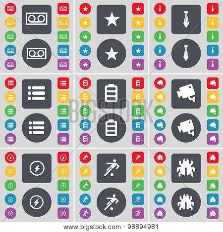Cassette, Star, Tie, List, Battery, Cctv, Flash, Football, Bug Icon Symbol. A Large Set Of Flat, Col