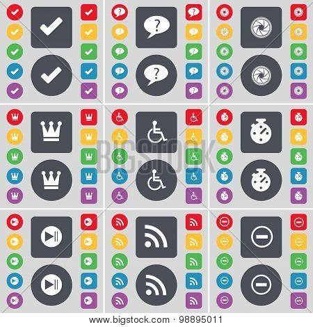 Tick, Chat Bubble, Lens, Crown, Disabled Person, Stopwatch, Media Skip, Rss, Minus Icon Symbol. A La