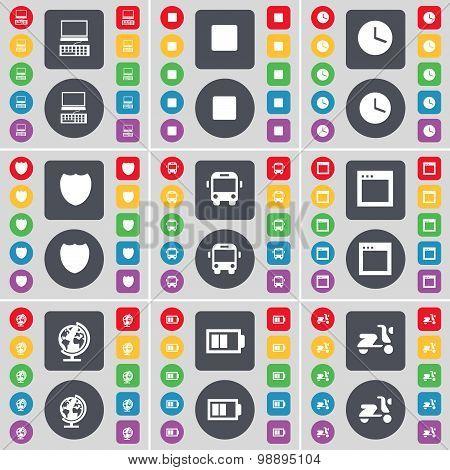 Laptop, Media Skip, Clock, Badge, Bus, Window, Globe, Battery, Scooter Icon Symbol. A Large Set Of F