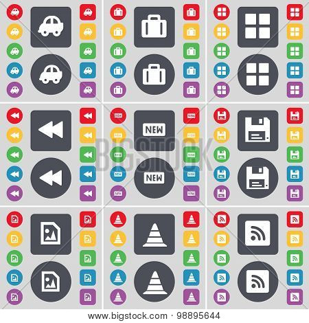 Car, Suitcase, Apps, Rewind, New, Floppy, Media File, Cone, Rss Icon Symbol. A Large Set Of Flat, Co