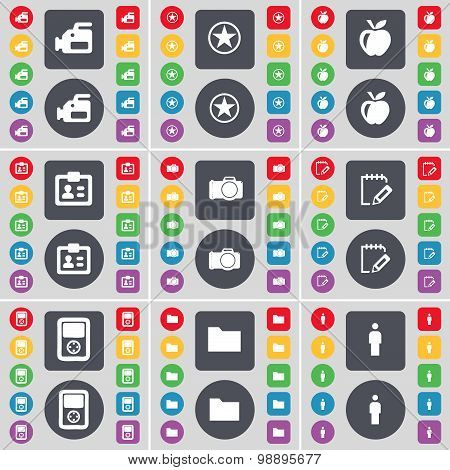 Film Camera, Star, Apple, Contact, Camera, Survey, Player, Folder, Silhouette Icon Symbol. A Large S