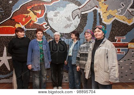 Selidovo, Ukraine - February 28, 2014: Female Builders Working In The Mine At The Background Of Mosa