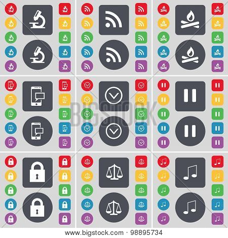 Microscope, Rss, Campfire, Sms, Arrow Down, Pause, Lock, Scales, Note Icon Symbol. A Large Set Of Fl