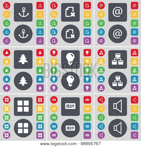 Anchor, File, Mail, Firtree, Light Bulb, Network, Apps, Buy, Sound Icon Symbol. A Large Set Of Flat,