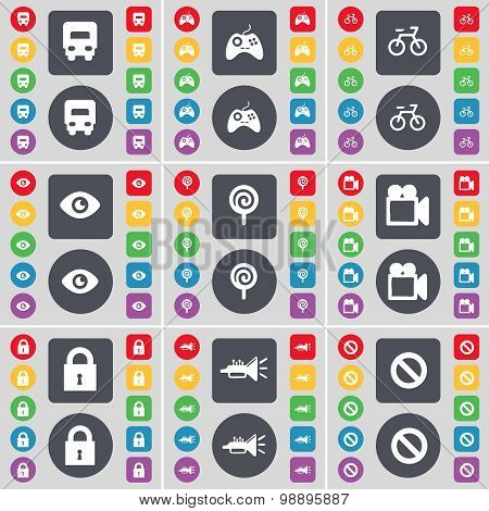 Truck, Gamepad, Bicycle, Vision, Lollipop, Film Camera, Lock, Trumped, Stop Icon Symbol. A Large Set