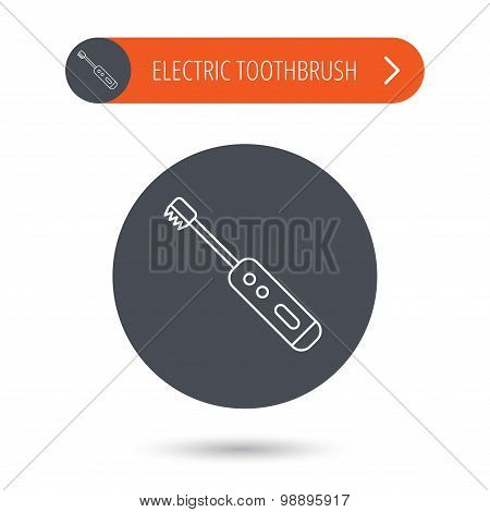 Electric toothbrush icon. Tooth cleaning sign.