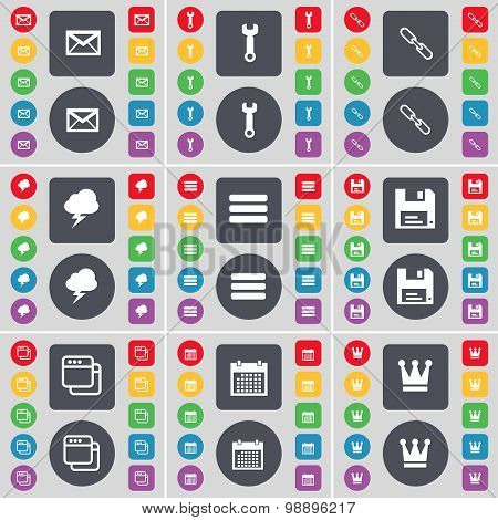 Message, Wrench, Link, Lightning, Apps, Floppy, Window, Calendar, Crown Icon Symbol. A Large Set Of