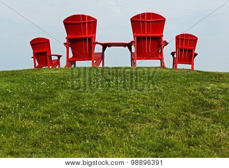 Red Adirondack Muskoka Chairs
