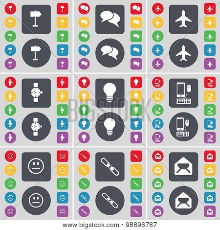 Sign Post, Chat, Airplane, Wrist Watch, Light Bulb, Smartphone, Smile, Link, Message Icon Symbol. A