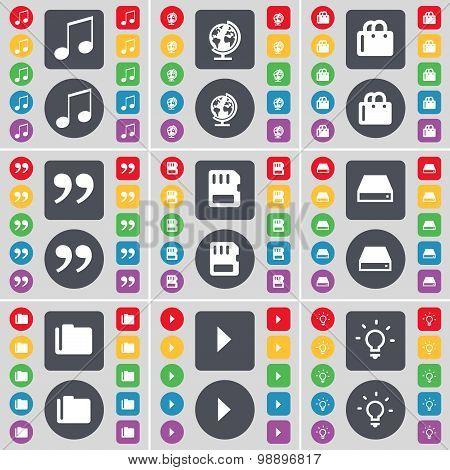 Note, Globe, Shopping Cart, Quotation Mark, Sim Card, Hard Drive, Folder, Media Play, Light Bulb Ico