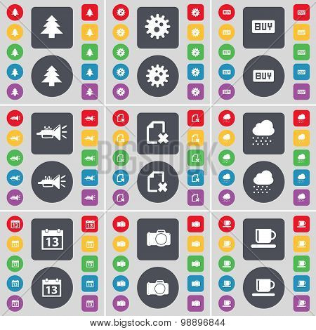 Firtree, Gear, Buy, Trumped, File, Cloud, Calendar, Camera, Cup Icon Symbol. A Large Set Of Flat, Co