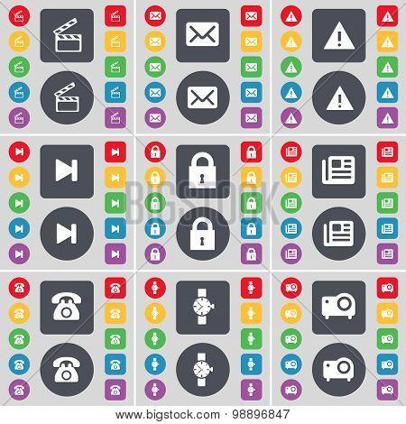Clapper, Message, Warning, Media Skip, Lock, Newspaper, Retro Phone, Wrist Watch, Projector Icon Sym