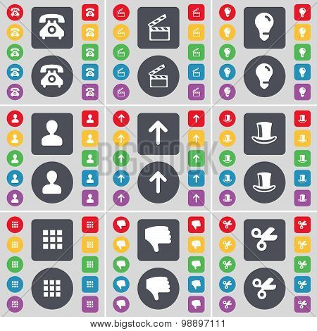 Retro Phone, Clapper, Light Bulb, Avatar, Arrow Up, Silk Hat, Apps, Dislike, Scissors Icon Symbol. A