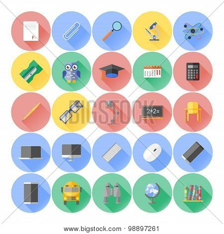 Modern flat icon vector illustration collection with long shadow in stylish colors on high school an