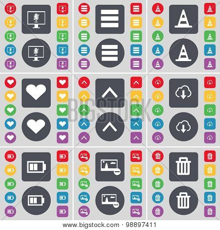 Monitor, Apps, Cone, Heart, Arrow Up, Cloud, Battery, Picture, Trash Can Icon Symbol. A Large Set Of