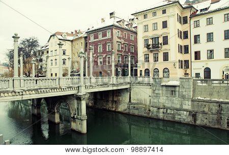 Cobblers' Bridge And Ljubljanica River, Old City Of Ljubljana, Slovenia