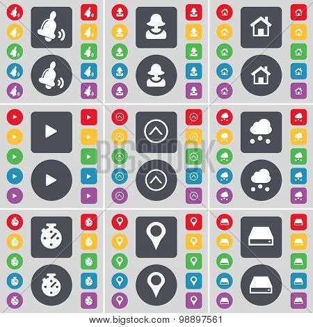 Bell, Avatar, House, Media Play, Arrow Up, Cloud, Stop Watch, Checkpoint, Hard Drive Icon Symbol. A