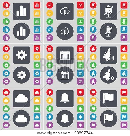 Diagram, Cloud, Microphone, Gear, Calendar, Bell, Cloud, Notification, Flag Icon Symbol. A Large Set