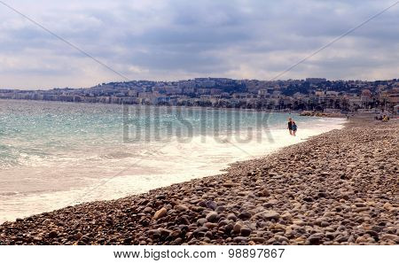 Beach On Promenade Des Anglais In Nice, French Riviera, France