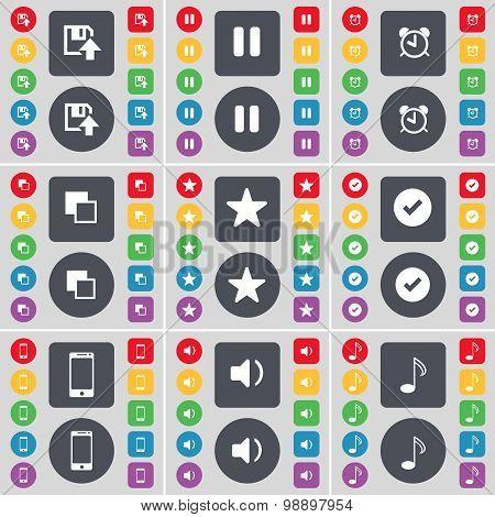 Floppy, Pause, Alarm Clock, Copy, Star, Tick, Smartphone, Sound, Note Icon Symbol. A Large Set Of Fl
