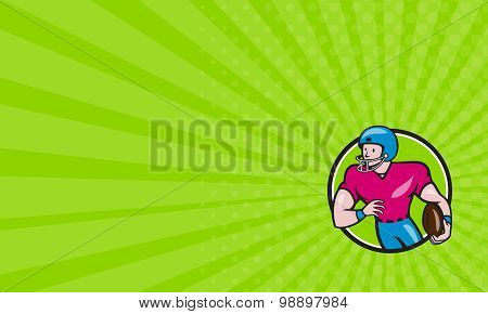 Business Card American Football Receiver Running Circle Cartoon