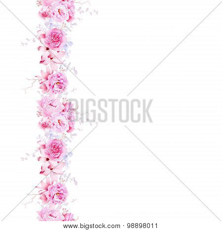 Delicate Pink Camellia And Peonies Seamless Vector Vertical Line