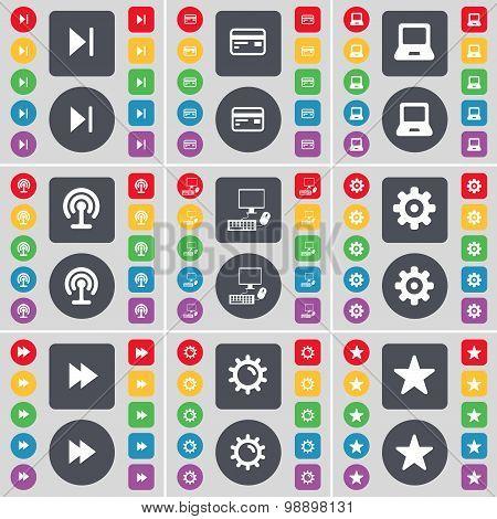 Media Skip, Credit Card, Laptop, Wi-fi, Pc, Gear, Rewind, Star Icon Symbol. A Large Set Of Flat, Col