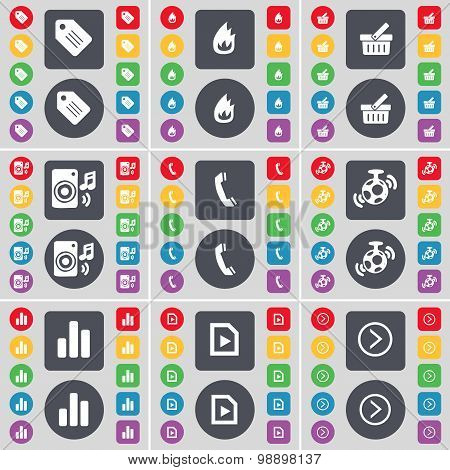 Tag, Fire, Basket, Speaker, Receiver, Speaker, Diagram, Media Play, Arrow Right Icon Symbol. A Large