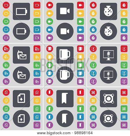 Battery, Film Camera, Stopwatch, Sms, Cup, Monitor, File, Marker, Speaker Icon Symbol. A Large Set O