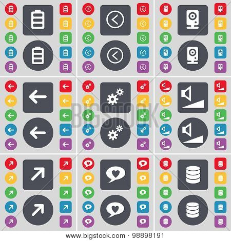Battery, Arrow Left, Speaker, Arrow Left, Gear, Volume, Full Screen, Chat Bubble, Database Icon Symb
