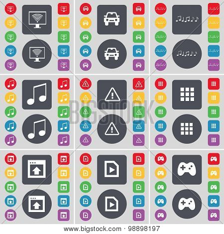 Monitor, Car, Notes, Warning, Apps, Window, Media File, Gamepad Icon Symbol. A Large Set Of Flat, Co