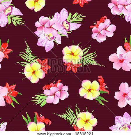 Marsala Colored Print  Plumeria, Frangipani, Orchid Flowers. Seamless Pattern.