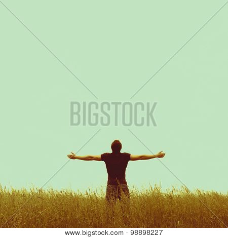 Silhouette of man standing on an empty background