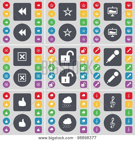 Rewind, Star, Graph, Stop, Lock, Microphone, Like, Cloud, Clef Icon Symbol. A Large Set Of Flat, Col