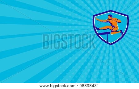 Business Card Track And Field Athlete Jumping Hurdle