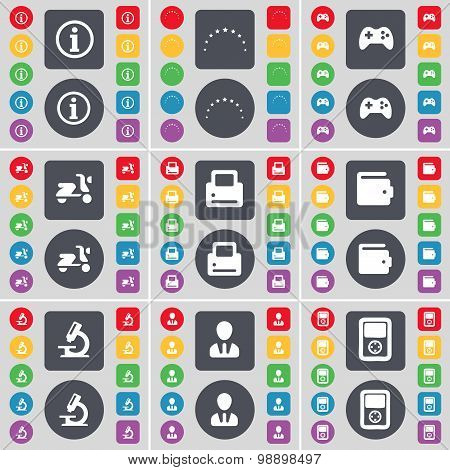 Information, Stars, Gamepad, Scooter, Printer, Wallet, Microscope, Avatar, Player Icon Symbol. A Lar