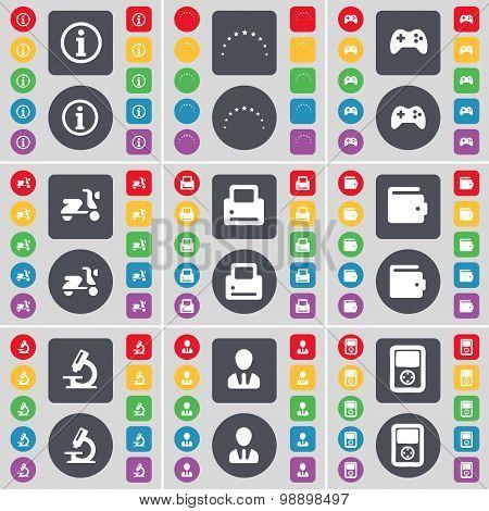 Information, Stars, Gamepad, Scooter, Printer, Wallet, Microscope, Avatar, Player Icon Symbol. A Lar