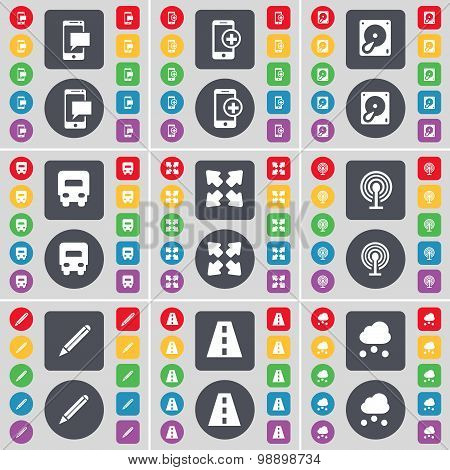 Sms, Smartphone, Hard Drive, Truck, Full Screen, Wi-fi, Pencil, Road, Cloud Icon Symbol. A Large Set
